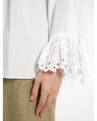 Chloé - White Pintucked Cotton-poplin Blouse - Lyst