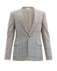 メンズ Alexander McQueen バイカラーチェック ウールツイルスーツジャケット Gray