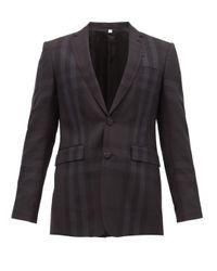 メンズ Burberry チェック ウール シングルスーツジャケット Black