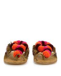 Figue Pink Salome Fringed Pompom Suede Sandals