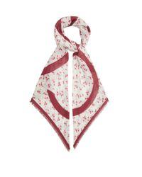 Loewe アナグラム フローラル モダールカシミアスカーフ Red
