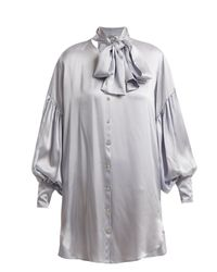 Hillier Bartley Gray Balloon-sleeve Oversized Silk Shirtdress