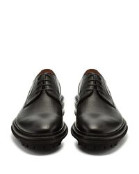 Lanvin Black Grained-leather Derby Shoes for men