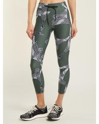 The Upside Green Mallard-print Cropped leggings
