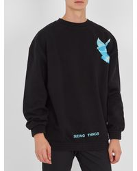 Off-White c/o Virgil Abloh Black Not Real Dove-print Cotton Sweatshirt for men