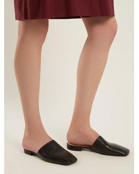Acne Black Tessey Leather Backless Loafers