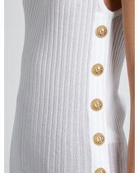 Balmain White High-neck Sleeveless Cotton Top