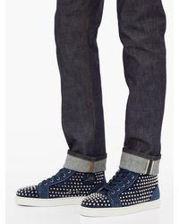 Baskets montantes en daim à picots Louis Orlato Christian Louboutin pour homme en coloris Blue