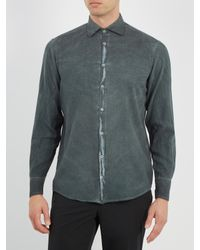 Massimo Alba - Gray Spread-collar Brushed-twill Shirt for Men - Lyst