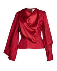 Roksanda Red Voru Origami-sleeved Draped Top