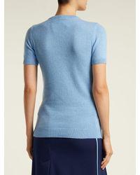 N°21 - Blue Crystal-appliqué Cashmere Sweater - Lyst