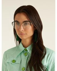 Miu Miu - Black Contrast-frame Cat-eye Glasses - Lyst
