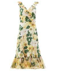 Dolce & Gabbana カメリアプリント ラッフル シルクドレス Multicolor