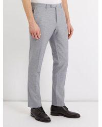 Boglioli Gray Tailored Cotton-linen Chino Trousers for men