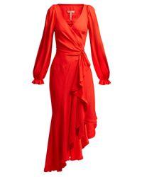 Maria Lucia Hohan Eliana アシンメトリー クレープラップドレス Red