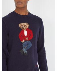 Polo Ralph Lauren - Blue Teddy Bear-intarsia Wool Sweater for Men - Lyst