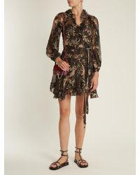 Zimmermann - Multicolor Maples Feathery Floral-print Silk Wrap Dress - Lyst