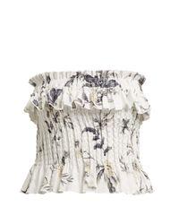 SIR White Marele Smocked Floral-print Linen Top
