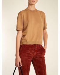 Miu Miu - Multicolor Gingham-tie Button-back Wool Sweater - Lyst