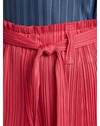 Pleats Please Issey Miyake - Red Paperbag-waist Straight-leg Pleated Trousers - Lyst