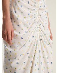 Joseph White Floral-print Ruched Skirt