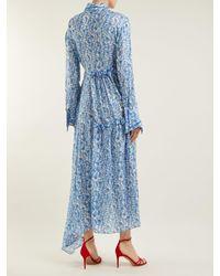 Preen By Thornton Bregazzi - Blue Petunia Floral-print Asymmetric Dress - Lyst