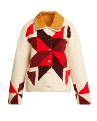 Isabel Marant White Adil Reversible Shearling Jacket