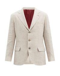 メンズ Brunello Cucinelli ハウンドトゥースチェック リネンブレンドジャケット Natural