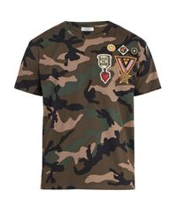 Valentino Multicolor Camouflage-print Cotton T-shirt for men