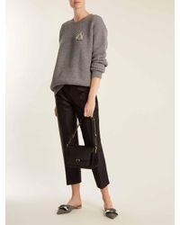 Rochas Gray Bee-embellished Wool Cardigan