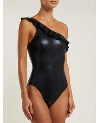 Maillot de bain asymétrique à volants Mio Norma Kamali en coloris Black