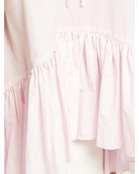 CECILIE BAHNSEN Pink Asta Ruffle Hem Cotton Top