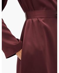 Robe de chambre longue en satin de soie ceinturée La Perla en coloris Red