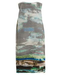 Issey Miyake Multicolor Plate Pleats Landscape-print Sleeveless Dress