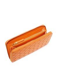 Bottega Veneta イントレチャート レザーウォレット Orange