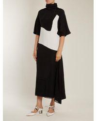 Acne Dilona Two-tone Frayed Gauze And Faille Midi Dress Black