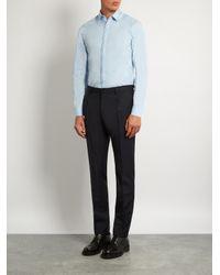 Lanvin Blue Button-cuff Stitch-detail Cotton-poplin Shirt for men