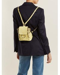 Chloé Yellow Faye Mini Suede And Leather Backpack