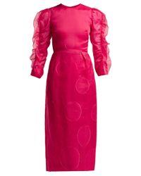 Carolina Herrera ポルカドット フィルクーペ シルクブレンドドレス Pink