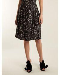 HVN Black Saree Star-print Pleated Silk Skirt