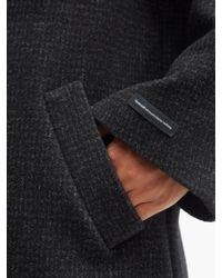 メンズ GmbH チェック ウールブレンド ダブルピーコート Black