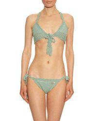 She Made Me - Green Hira Tie-front Triangle Crochet Bikini Top - Lyst