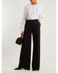 Nina Ricci - Blue Pinstriped Wide-leg Stretch-wool Trousers - Lyst