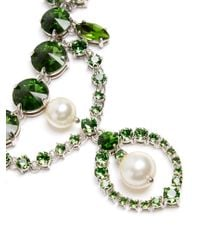 Miu Miu - Green Crystal And Faux-pearl Embellished Necklace - Lyst