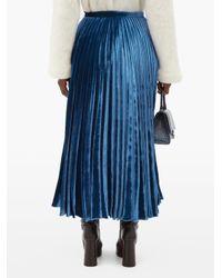 Christopher Kane クリスタルフラワー ベルベットマキシスカート Blue