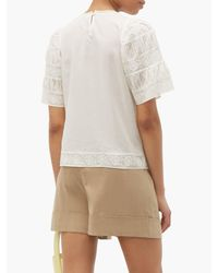 Sea White Audrey Puffed-sleeve Cotton-blend Top