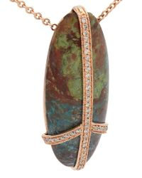 Jacquie Aiche - Metallic Diamond, Turquoise & Rose-gold Necklace - Lyst