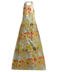 Rochas Green Halterneck Floral Brocade Gown