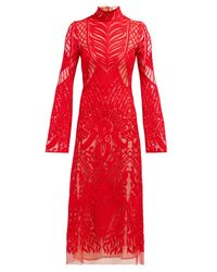 Galvan Oasis ハイネック エンブロイダリーレースドレス Red