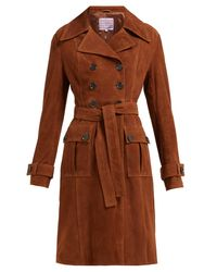 AlexaChung Brown Belted Suede Coat